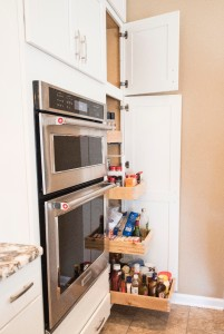 Roll outs in a tall storage pantry for the kitchen.